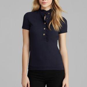 Tory Burch Navy Ruffle Lidia Polo Shirt